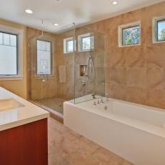 Brown Marble Traditional Bathroom With Glass Walk-In Shower