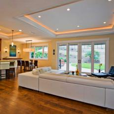 Neutral Open Plan Transitional Living Room With White Sectional