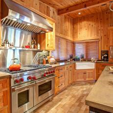 Captivating Cedar Kitchen With Stainless Steel Oven
