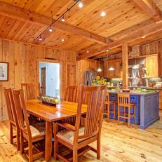 Captivating Cedar Kitchen Features Casual Dining Area