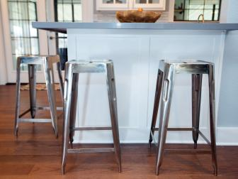 Kitchen With Chrome Stools