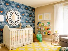 Multicolored Contemporary Nursery With Sparrow Wallpaper