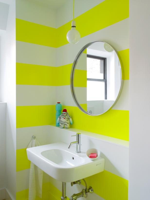 Neon Stripes Energize Small Bathroom