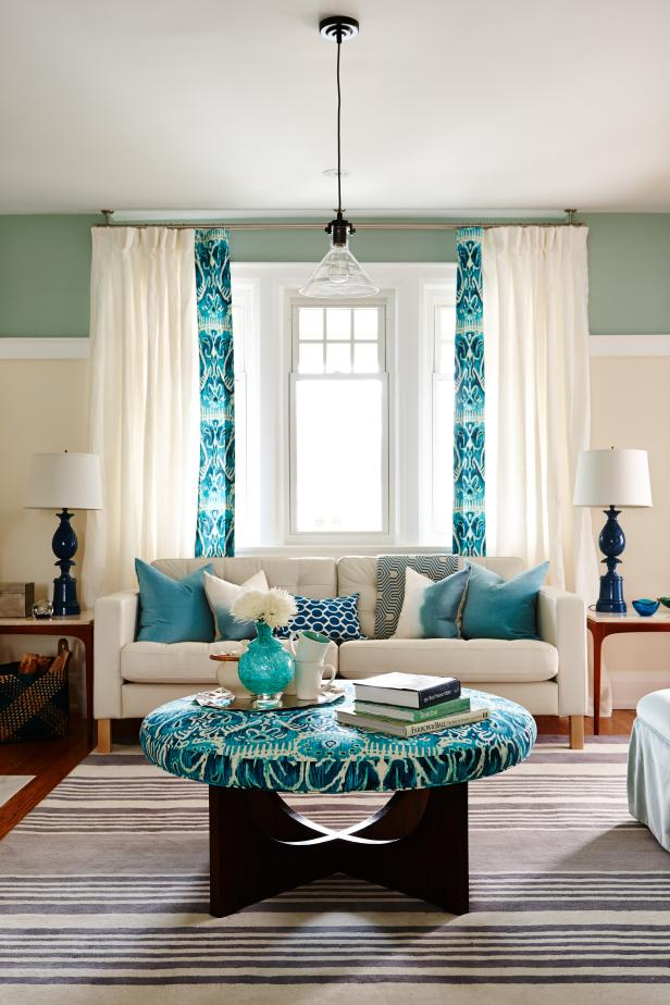 Sunny White and Turquoise Living Room From Sarah Sees Potential