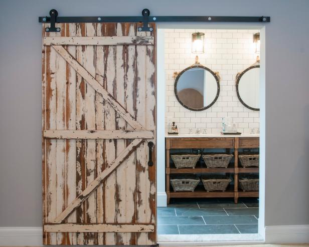 Rustic Barn Door Opens To Master Bathroom