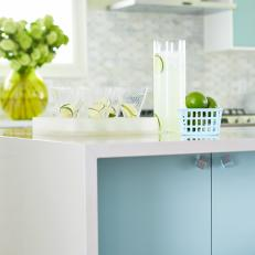 Cheery White and Turquoise Kitchen From Sarah Sees Potential