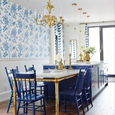 Blue and White Traditional Eat-In Kitchen From Sarah Sees Potential
