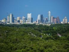 Austin Texas Skyline Mid Day blue sky with Greenbelt