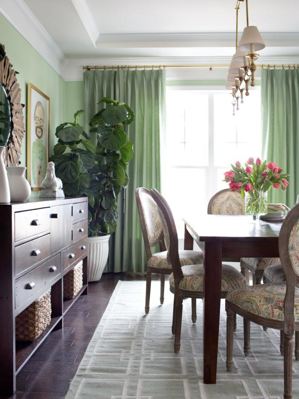 Sage Dining Room With Fiddle Leaf Fig Tree