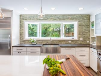 Green and White Contemporary Kitchen With Green Backsplash