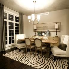 Zebra Area Rug Grounds Transitional Dining Room