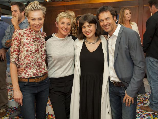 Ellen DeGeneres and Portia DeRossi WIth Ellen's Design Challenge Winner