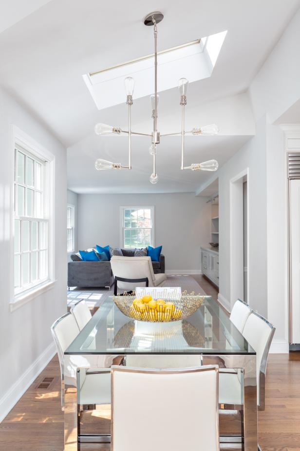 Contemporary Dining Room With Glass Table