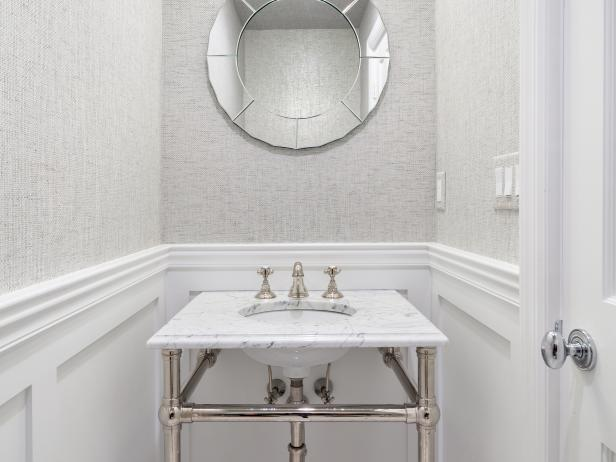 Neutral Powder Room With Chevron Floors