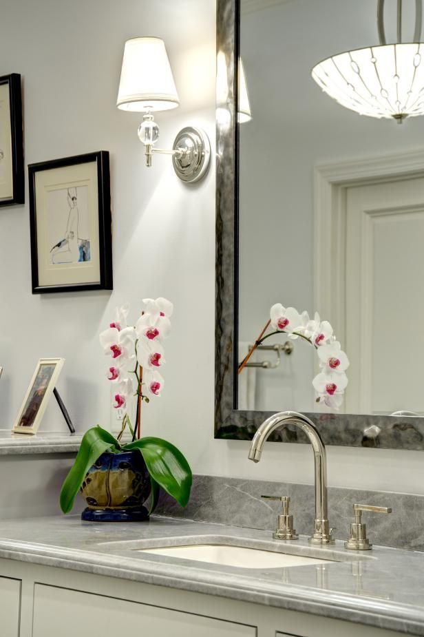 Sconce, Orchid and Bathroom Mirror
