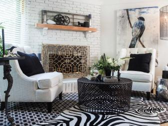 Black and White Eclectic Living Room With Fireplace