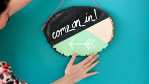 Geometric Painted Chalkboard Door Decor