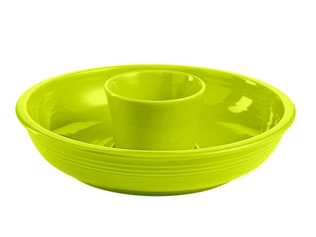 "Fiesta 12 3/4""-diameter china chip and dip set in lemongrass, $58, macys.com"