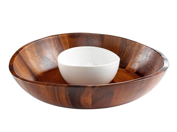 "The Cellar Curved 13""-diameter acacia wood and ceramic chip and dip, $68, macys.com"