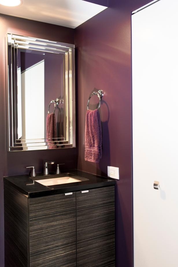 Photo page hgtv for Gray and purple bathroom ideas