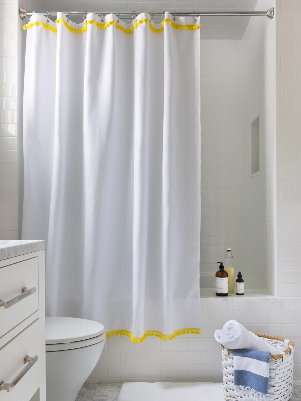 3 easy ways to upcycle a plain shower curtain hgtv - Shower Curtain Design Ideas