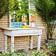 Rehab Addict: Repurposed Desk Turned Poolside Bar