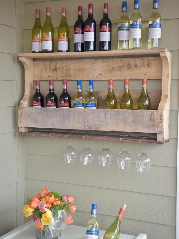 Diy Wood Pallet Wine Rack on liquor bottle shelves for bars