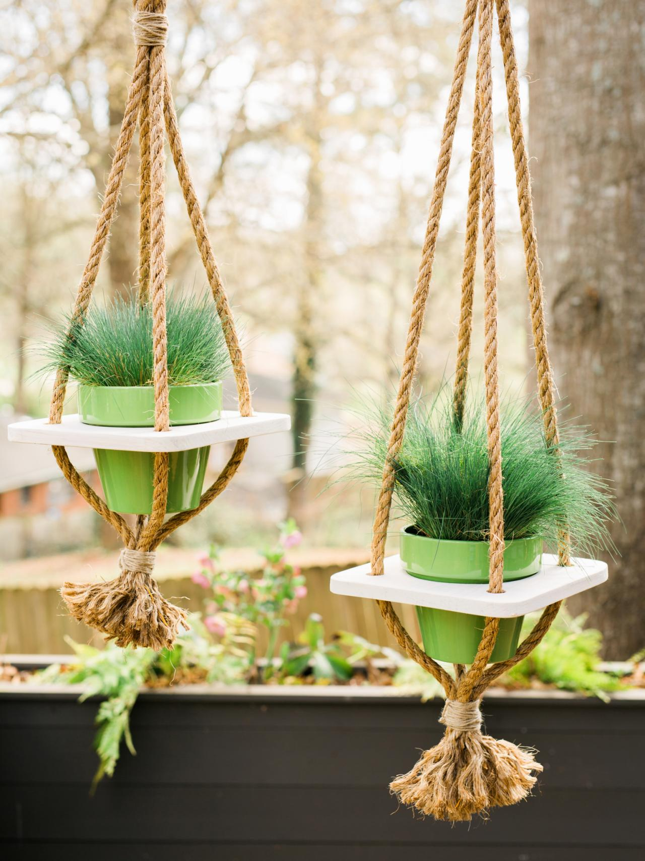 diy hanging planter with rope hgtv