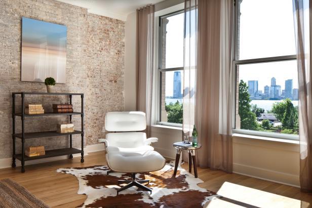 White Eames Chair & Cowhide Rug in Urban