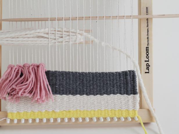 Now keep creating stripes all the way across the loom.