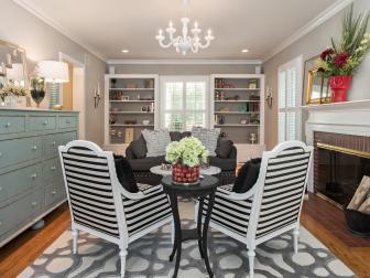 Feminine Living Room Boasts Black & White Striped Armchairs