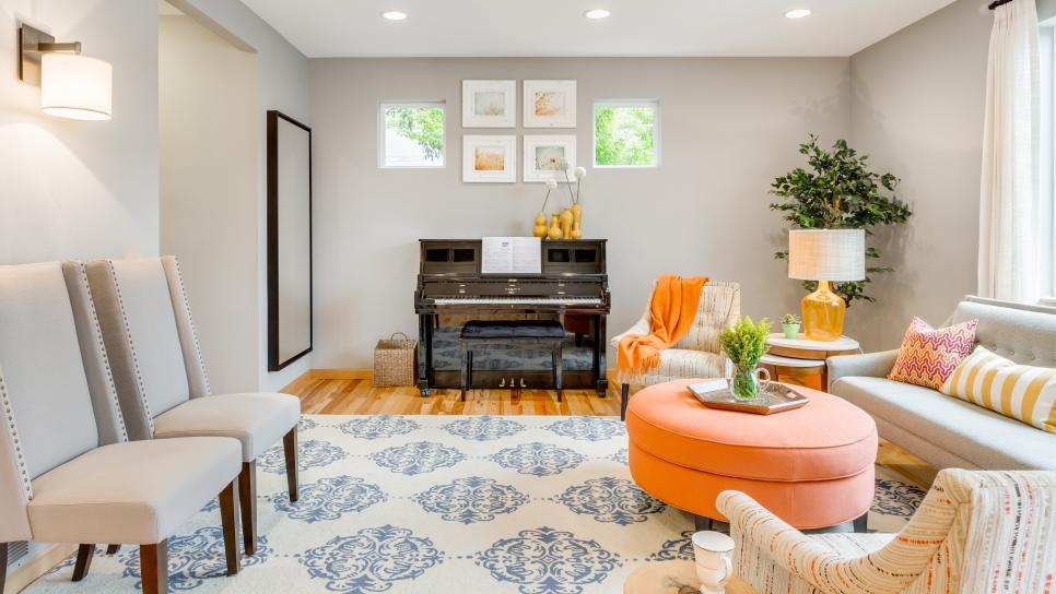 Gray Transitional Living Room With Orange Ottoman Harmony Weihs HGTV