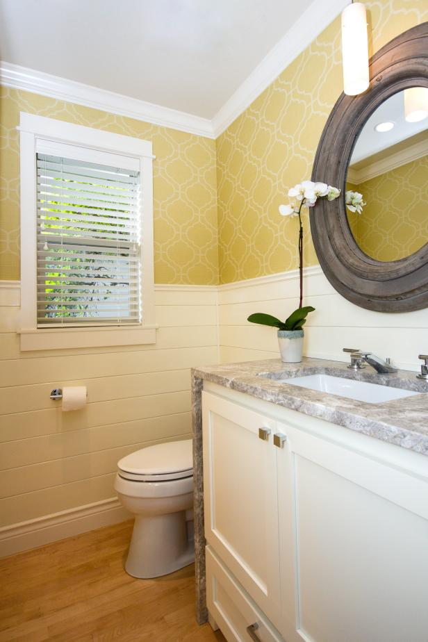Small Powder Room Is Light Amp Bright In White Amp Gold Hgtv