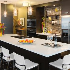 Contemporary Eat-in Kitchen With Mosaic Backsplash