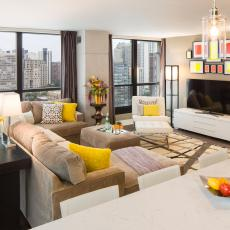 Modern Living Room With Pops of Yellow
