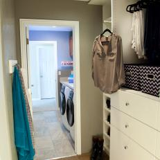 Laundry Room With Adjoining Closet
