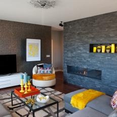 Gray Living Room With Modern Accents