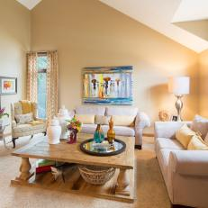 Dreamy Transitional Family Room Features Soft Color Palette