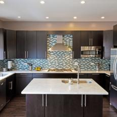 Contemporary Kitchen With Dark Cabinets Blue Backsplash