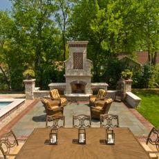 Poolside Lounging and Dining Area With Mediterranean Flair