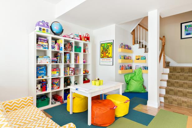 Basement Playroom Features Toy Storage & Play Table