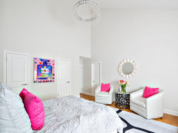 Contemporary Kid's Bedroom With Hot Pink Accents