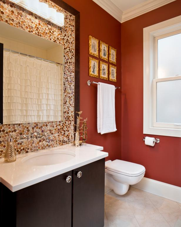 Rust Orange Bathroom Features Dotted Mosaic Tile Backsplash