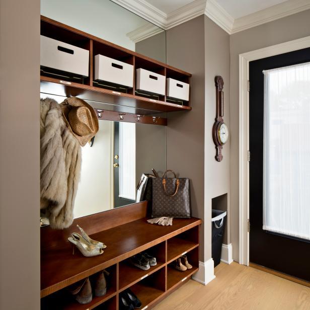 Elegant Mudroom Features Wooden Storage Shelves