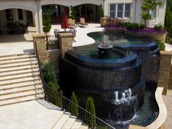 Three-Tiered Pool Design With Black Onyx Water Features