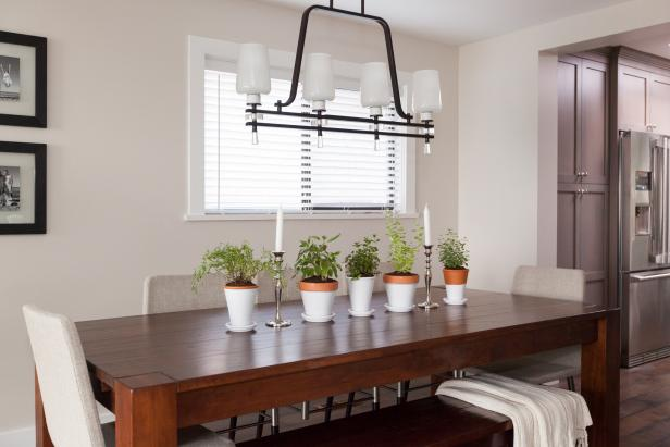 Neutral Dining Room with Dark Modern Accents