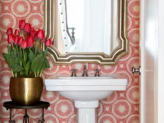 Powder Room With Graphic Pink Wallpaper