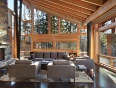Modern Furnishings in Rustic Living Room