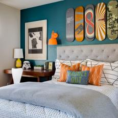 Skateboards Serve as Art in Contemporary Boy's Bedroom