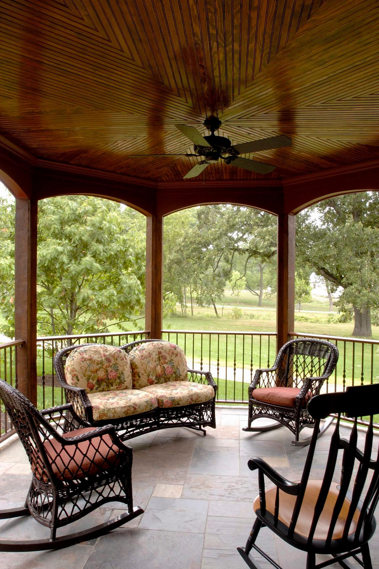 Round Veranda With Wood Ceiling Amp Rocking Chairs Hgtv